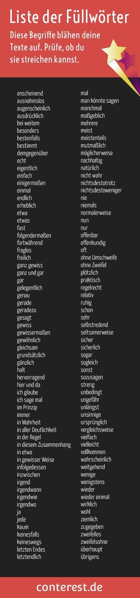 Füllwörter - Liste mit Wörtern, die du aus deinen Texten streichen kannst