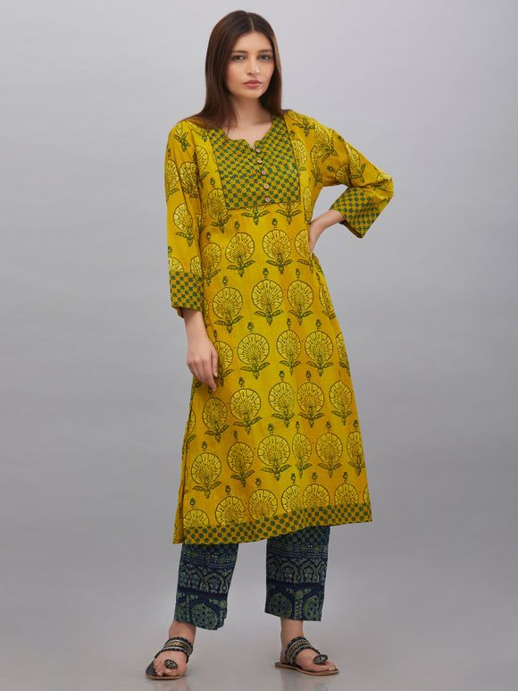 Buy Green Cotton Silk Pleated Kurta online at Theloom ced11a2ab4
