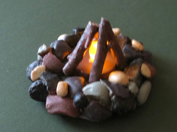 desk campfire made from battery tea light | for the boys ...