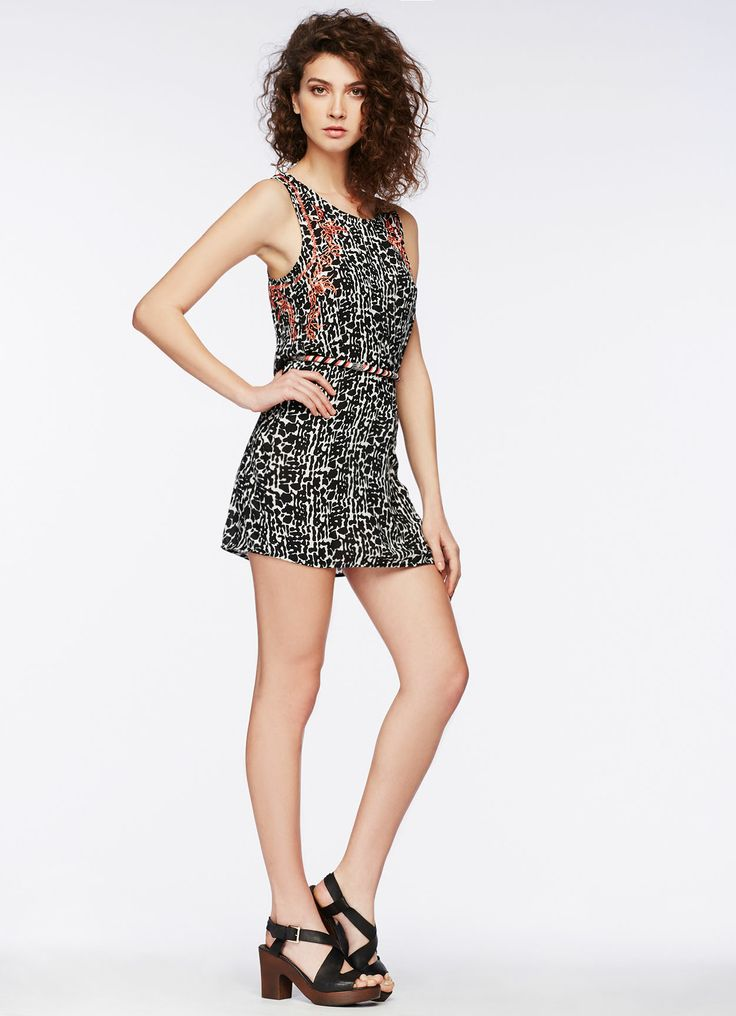 Pepe Jeans - SS 2014 - Frome - ethnic print, sleeveless, trapezium cut dress with orange embroidery