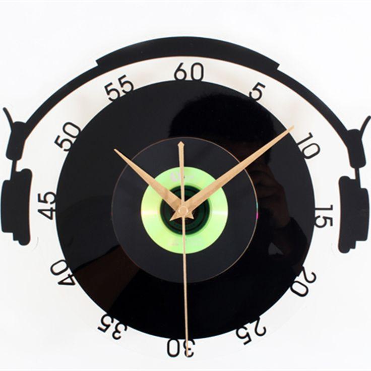 Fashion Music Headphones wall clock Retro  Vinyl record  clock Personalized music theme decorative watches