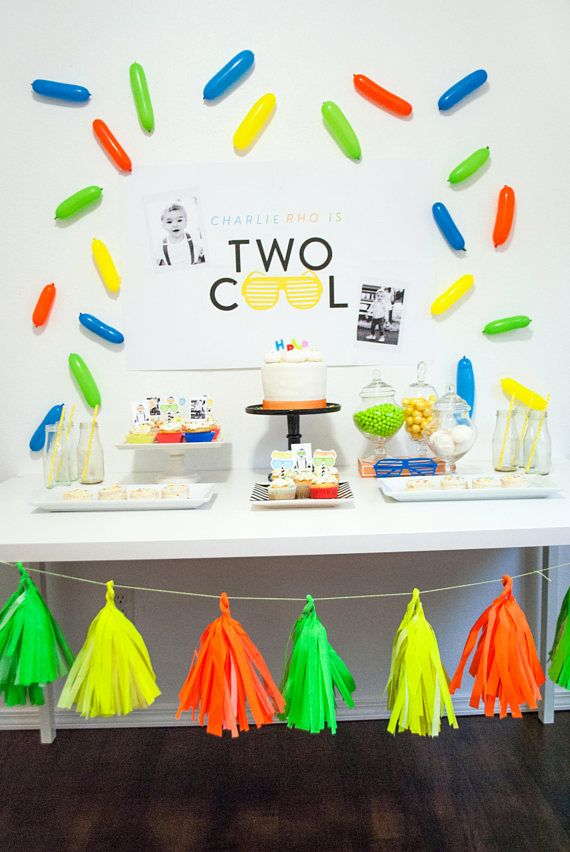 Two Cool Birthday Party By Itsy Belle Studio Boy 2nd Birthday Neon Modern Birthday Party Decorations Boy Birthday Decorations 2nd Birthday Party For Boys