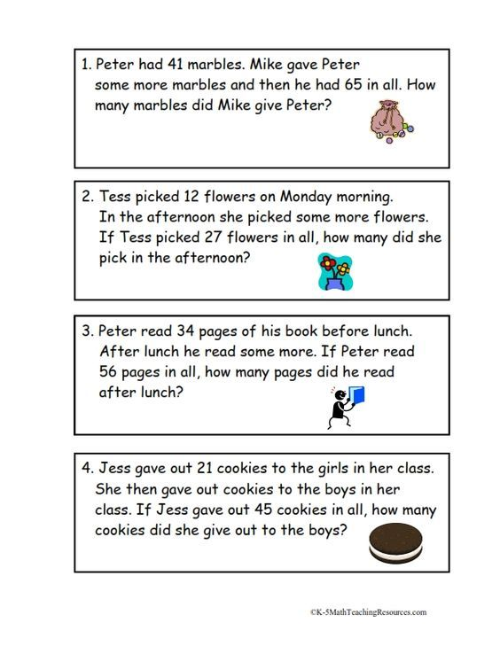 Math- Grade 2 Second graders tend to struggle with word math problems. They confused with all the words mixed with numbers. This worksheet will help them practice.  Add To Change Unknown Problems: