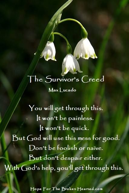 The Survivor's Creed by Max Lucado . . . You will get through this.  It won't be painless.  It won't be quick.  But God will use this mess for good.  Don't be foolish or naïve.  But don't despair either.  With God's help, you'll get through this. . . . (HopefortheBrokenHearted.com)