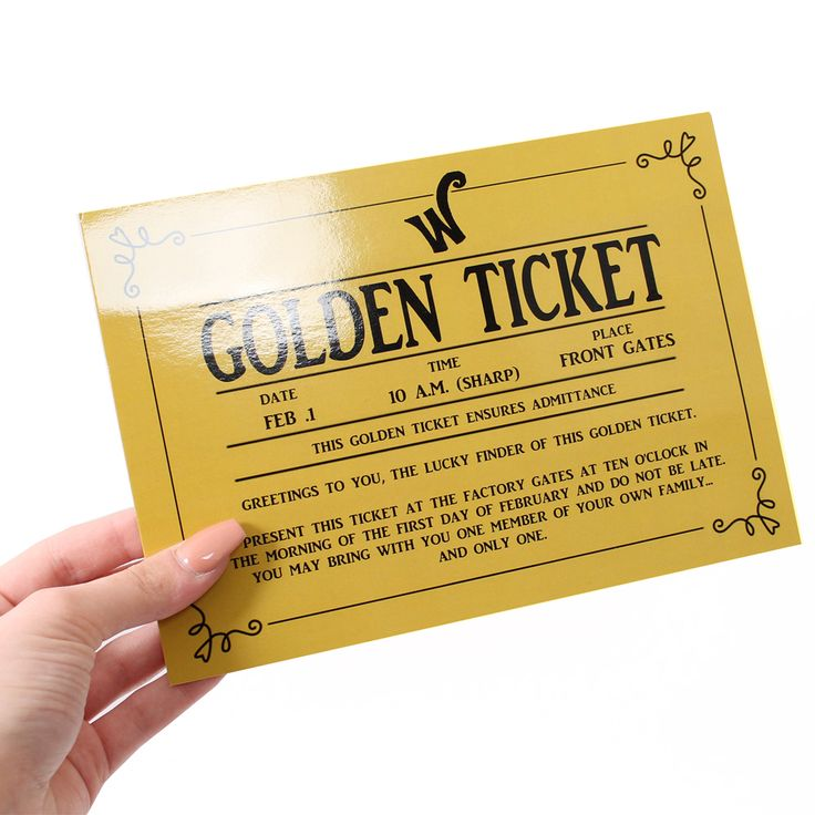 Only £2.99 and free delivery for golden ticket - perfect accessory for Willy Wonka, Oompa Loompa /Umpa Lumpa, and Charlie Bucket Costumes for World Book Day!