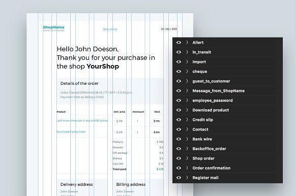 Prestashop e-mail PSD templates  by flugee. on @creativemarket