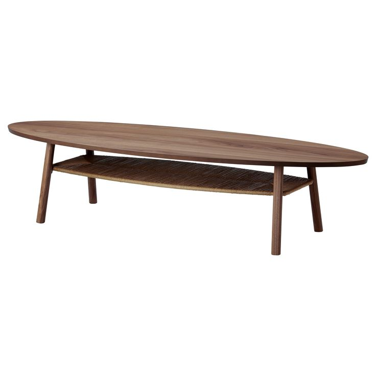 STOCKHOLM Coffee table - IKEA love the surfboard shape & the lower shelf to conceal magazines & books $229