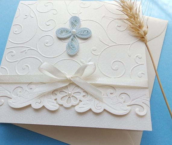 Handmade boy christening invitation/Unique baptism