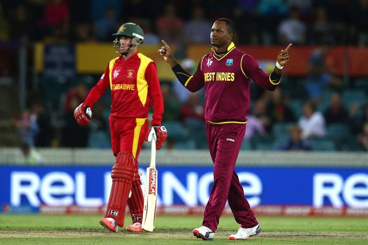 Marlon Samuels got the important wicket of Brendan Taylor. Zimbabwe made a good score of 289 all out in 44.3 overs. But WI won with a margin of 73 runs out of reduced target of 48 overs. WI scored over all 372/2 in 50 overs in this Pool B match 15 on 24/02/2015