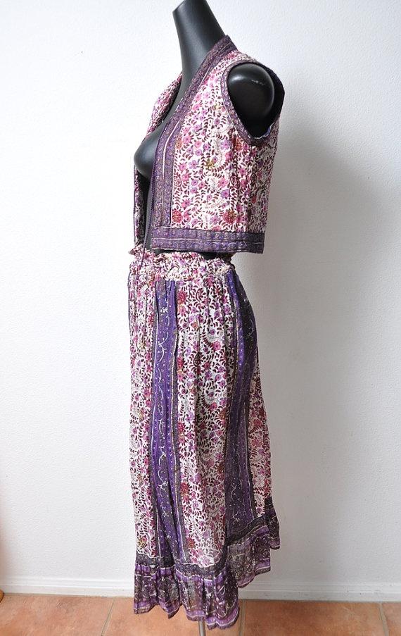 Vintage Lurex Gauze Sheer Cotton 2 Piece Dreamy 1970s skirt & vest  sold