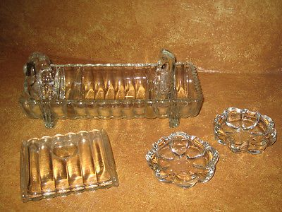 Vintage Cigarette Holder Glass Table Ashtray Set 4 Ashtrays 6 Pcs Old Antique