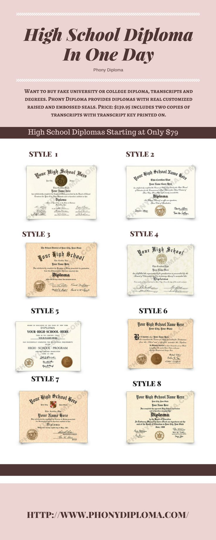 Buy fake college/university diploma, degree, transcripts and certificates with real customized raised and embossed seals. Phony Diploma is the brand you can trust. You need it fast so we ship it fast.
