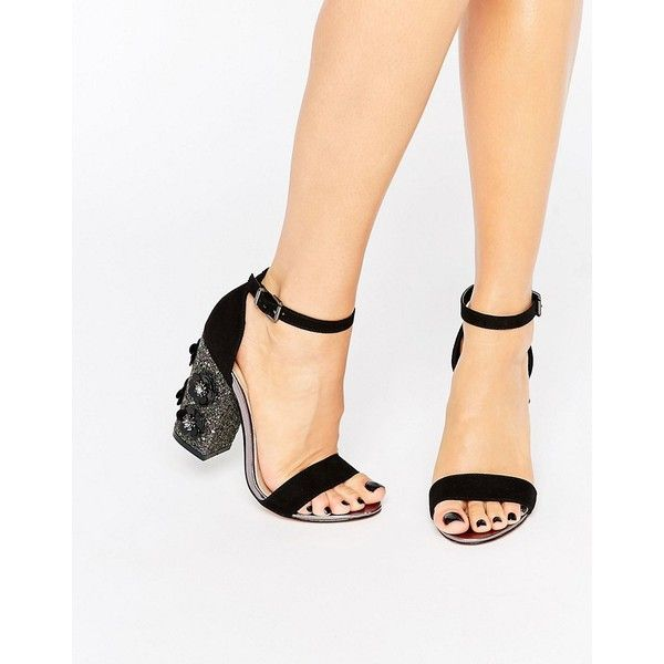 Lost Ink Darima Floral Block Heeled Sandals ($58) ❤ liked on Polyvore featuring shoes, sandals, black, strappy heeled sandals, strappy high heel sandals, embellished sandals, black embellished sandals and open toe sandals