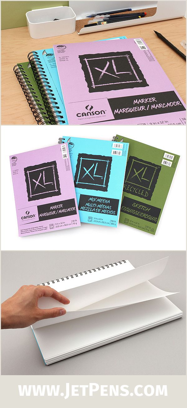 "The large 9"" x 12"" Canson XL Pads provide a generous canvas for your greatest masterpieces! Choose from three paper types: Mixed Media, Marker, and Sketch."