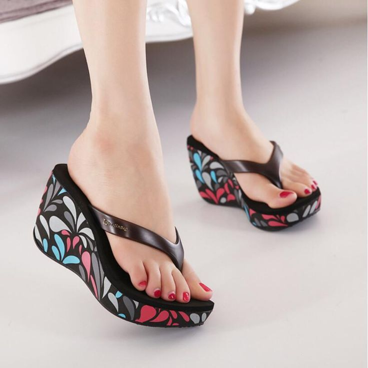{D&H}2016 Sweet Women's High-heeled Flip Flops Sandals Print Female Wedge Slippers Sandals Summer Waterproof Shoes Woman