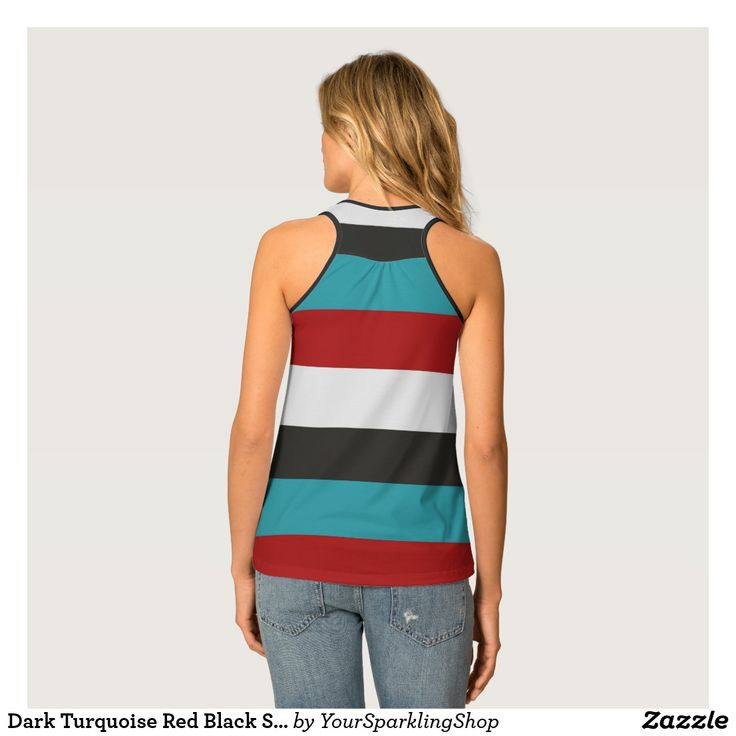 Dark Turquoise Red Black Stripes Pattern  #stripes #striped #top #racerback