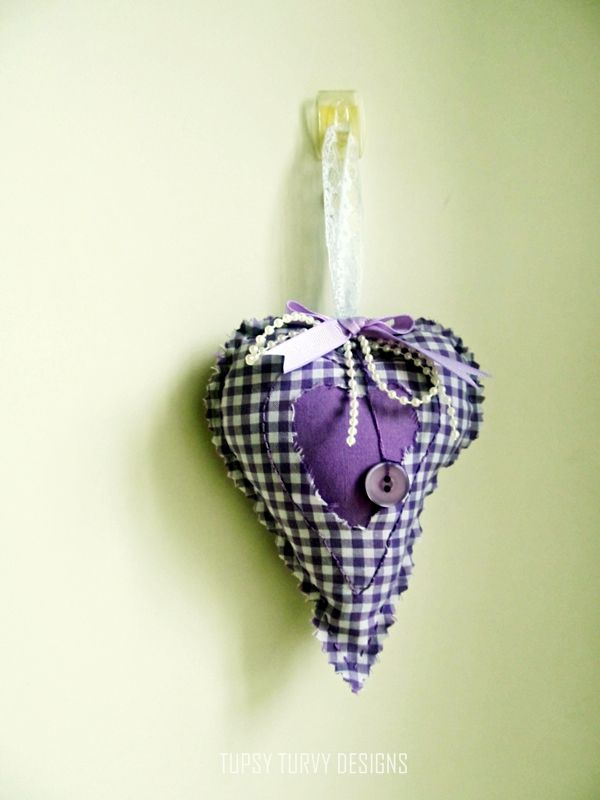 Lavender heart made with reclaimed materials