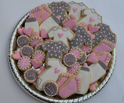 pink & grey girly baby shower cookies