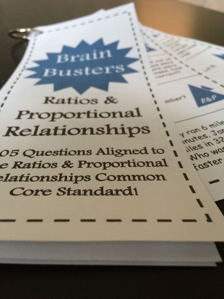Math Brain Busters - Ratios and Proportional Relationships! Includes 105 problems aligned to the Ratios and Proportional Relationships common core standard for 6th grade math. Comes with 21 cards that are easy to print, cut, hole punch, and clip together for students to use! Each card includes 5 problems. Topics include simplifying ratios, unit rates, ratio problems, percent of problems, and equivalent ratios!