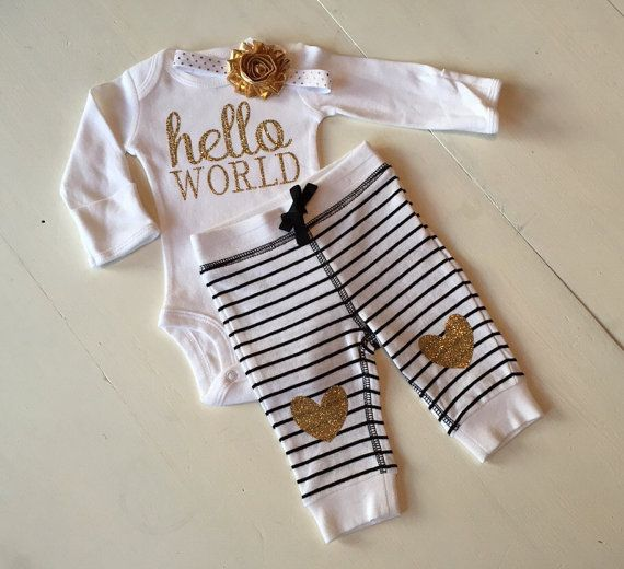 Hey, I found this really awesome Etsy listing at https://www.etsy.com/listing/217784975/gold-and-black-hello-world-outfit-new