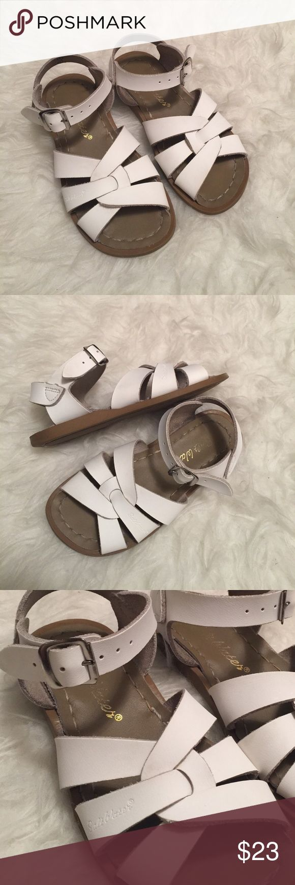 White salt water sandals. Toddler salt water shoes Excellent used condition toddler size 10 Salt Water white sandals. Very minimal wear. No holes or tears. Amazing condition. Salt Water Sandals by Hoy Shoes Sandals & Flip Flops