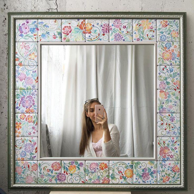 """А вот и зеркало, которое  заказывали ещё  в октябре, но осенью тяжело делать """"цветочное"""" хорошо, заказчица не торопила)"""
