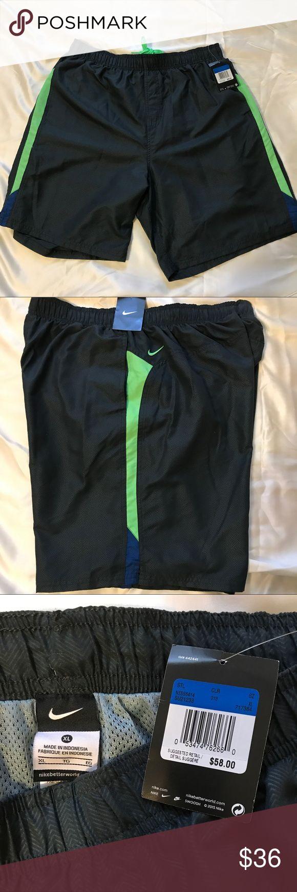 Nike XL Swim Trunks Shorts Gray/Green Nike Swim Trunks/Shorts. Size XL  Gray wave pattern with Neon Green sides and inside tie. Two mesh side pockets. Ine mesh back pocket with Velcro. Mesh liner. Retail $58 Nike Swim Swim Trunks