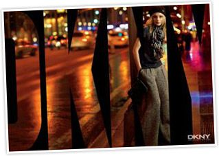 Jessica Stam models for DKNY's Fall 07 ad campaign