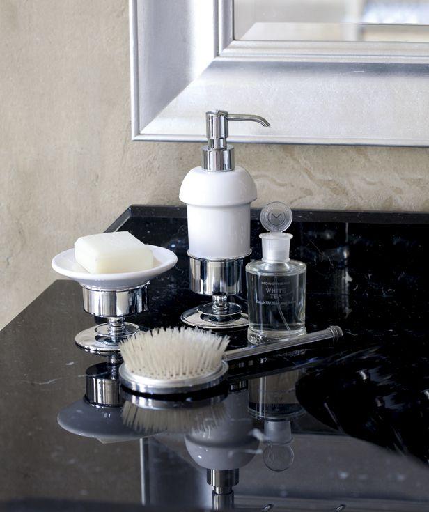 Kent ceramic dispenser and soap dish chrome.