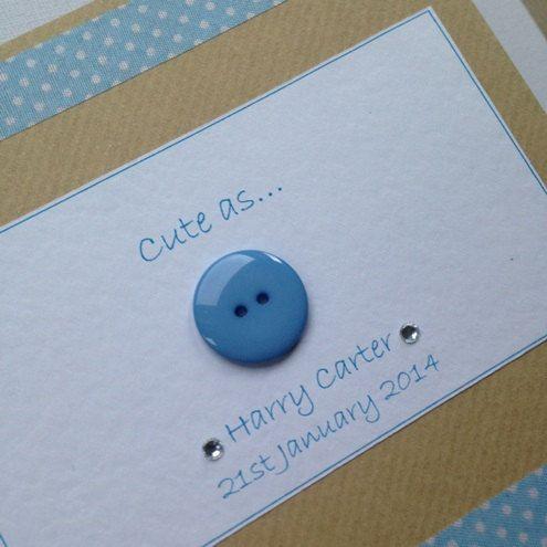 New baby, baby boy, baby girl, newborn. Handmade card.