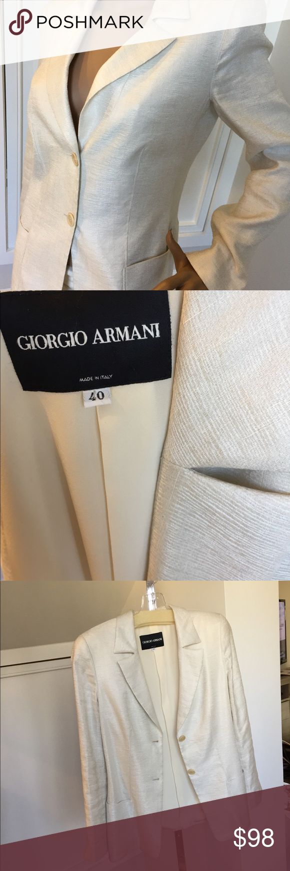 Georgia Armani jacket ivory size 40 Italian Very Gently Worn only a few times but excellent condition Georgio Armani Jackets & Coats