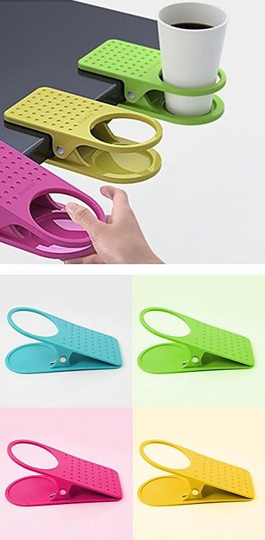 Table clip cup holder! Keeps drinks away from your desk space #product_design