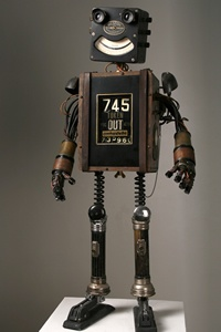 Love this happy 'found object' robot sculpture called Edison. Artist Mike Rivamonte has similar robots (and other pieces) plus posters available for sale at mrivamonte.com