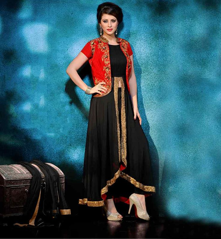 KOTI STYLE ANARKALI DRESSES ONLINE SHOPPING INDIA  BEAUTIFUL BLACK GEORGETTE DRESS WITH RED RAW SILK JACKET #KOTI_STYLE #ANARKALI_DRESSES