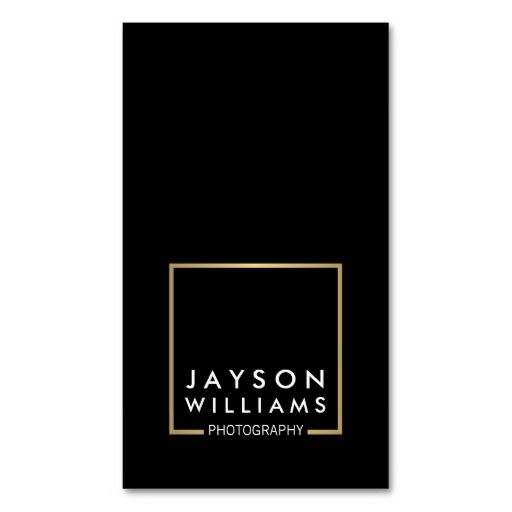 Modern Minimal Photographer Gold Square Logo II Business Card