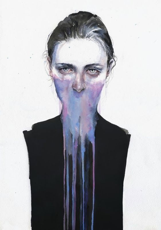 silvia pelissero a.k.a. agnes cecile 1 dripping watercolour portraits