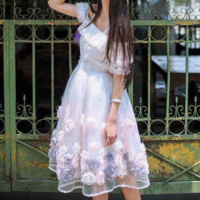 {Custom Made}Retro Frilly Rose Lace Dress SP179305
