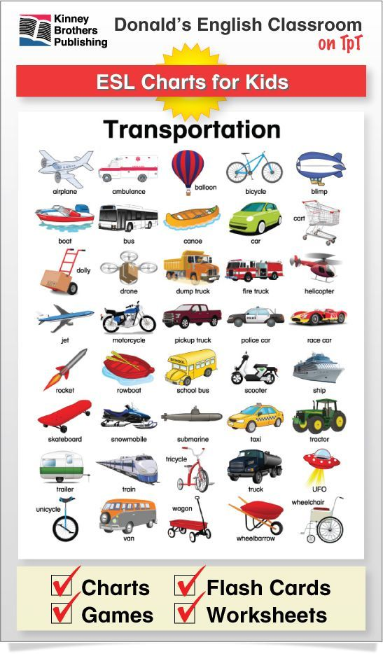 This Transportation Chart is perfect for tacking to an ESL board or into a newcomers notebook for a reference they'll return to again and again! The Charts are in color and black and white, with and without name labels. #ESL #EFL #ELL