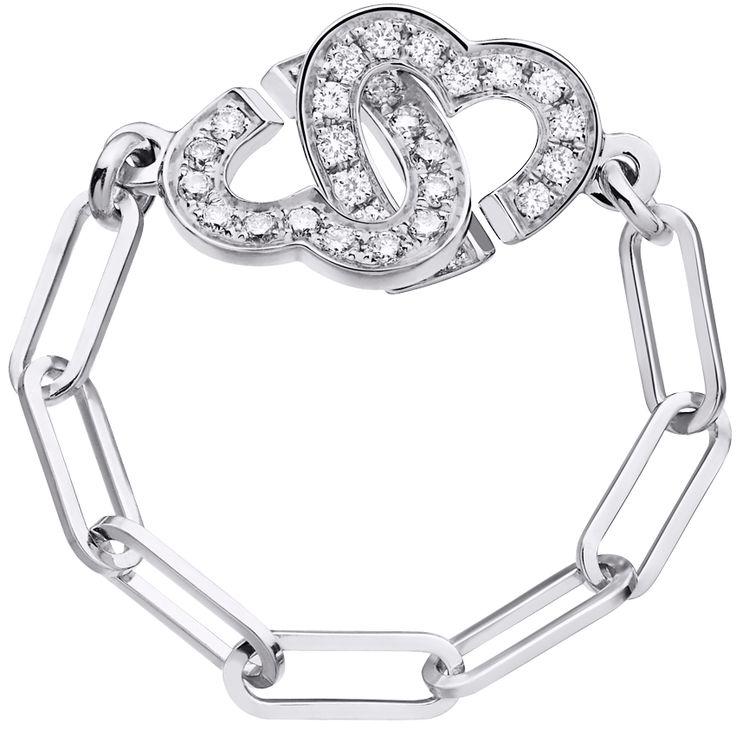 Dinh van Bague chaîne Double Coeurs R8 or blanc et diamants