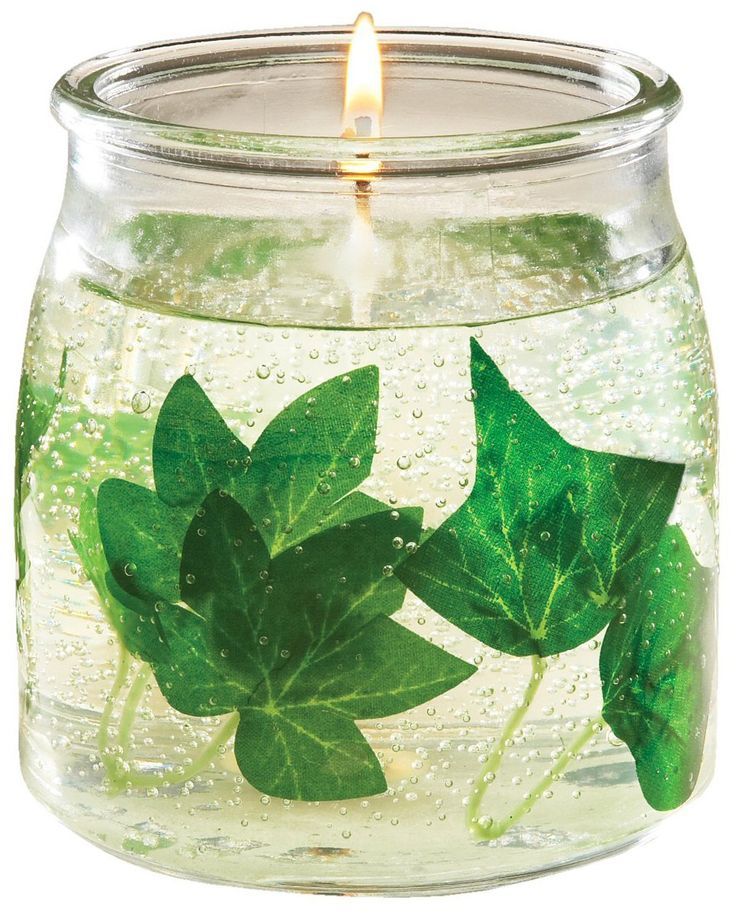 gel candle with leaves