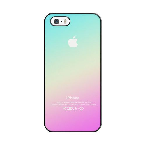 New Pink Aqua Apple Logo Gradient Ombre Silicone iPhone 5 5S Case