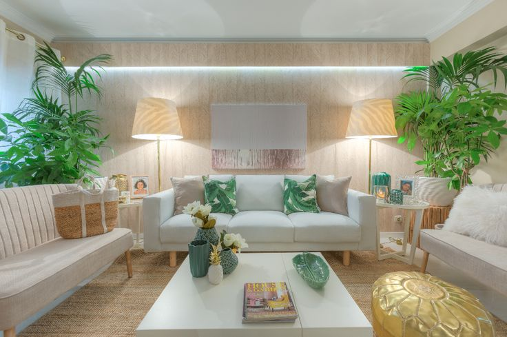 Ana antunes sala de estar living room tropical for Sala de estar beige