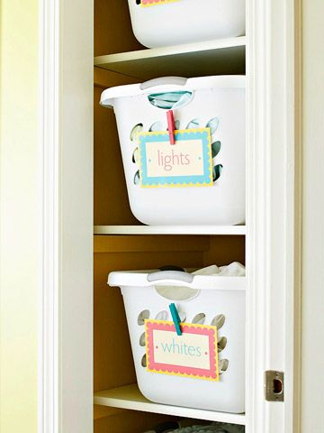 Decorative Labels for Laundry Room Organization - make shelves in laundry room to hole these baskets!