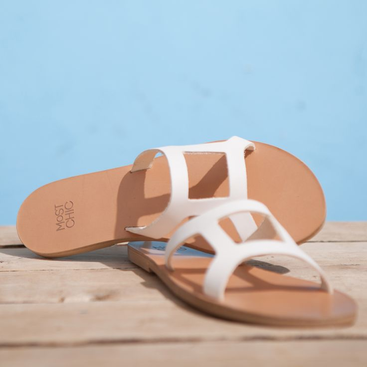 Simplicity… grecian style sandals ''lotus''in white ! handmade in Greece 100% leather www.most-chic.com