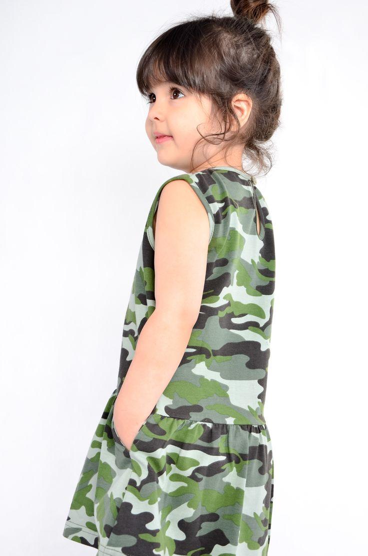 camo dress#little girl# kids fashion# WADERA