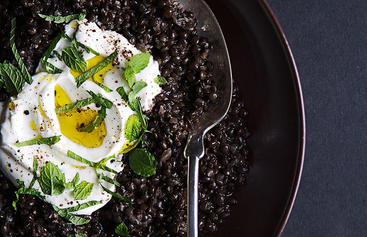 A great way to detox from Halloween Candy: Spiced Black Lentils with Yogurt and Mint