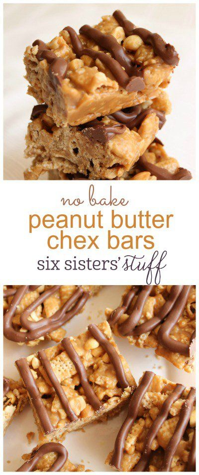 No Bake Peanut Butter Chex Bars from SixSistersStuff.com  | These peanut butter chex bars are no bake and a fast and easy dessert to make!