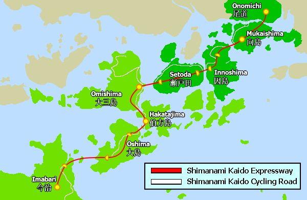 shimanami kaido cycling map Giappone in bicicletta:  le sette isole attraverso Shimanami Kaido