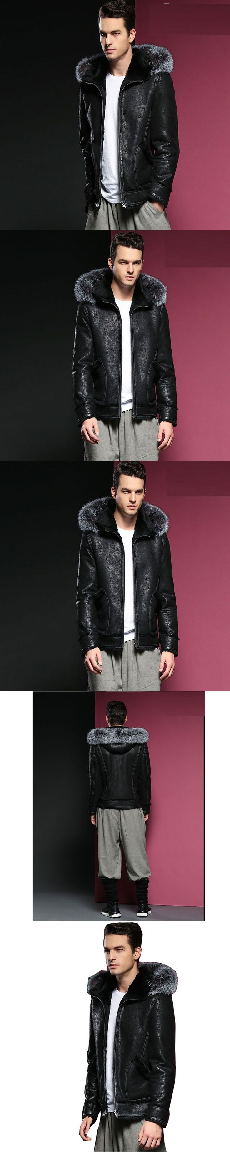 Leather Hooded Sheepskin Jacket Men Coats 3XL Brand High Quality Outerwear Men Business Winter Fur Male Jacket Fleece