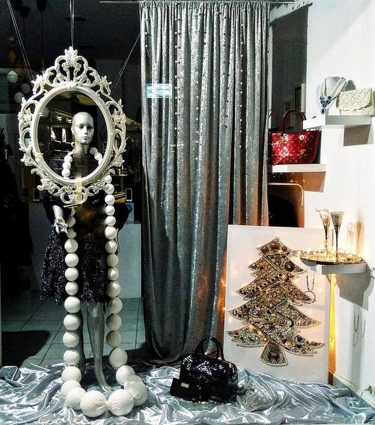 Christmas Vintage! Christmas shop window in Brands Bazaar boutique, Salamis, Greece. Christmas tree made of old jewelery pieces. Absolutely stunning!